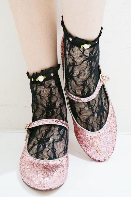 画像1: lace bijou socks(レースビジューソックス) (1)