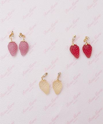 画像1: 【30%OFF】juicy strawberry earring&pierce(ジューシーストロベリーイヤリング&ピアス) (1)