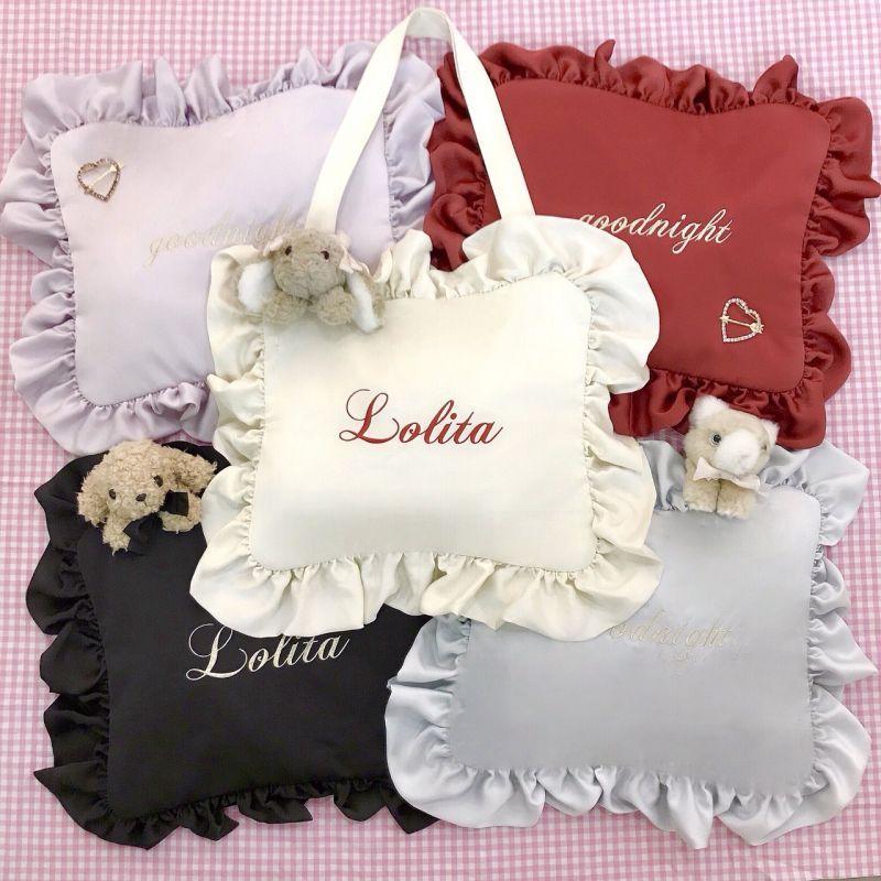 画像1: frill pillow bag(goodnight)(フリルピローバッグ) (1)