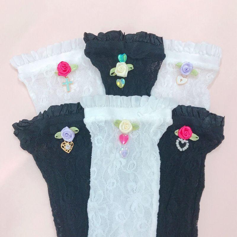画像1: lace flower socks(レースフラワーソックス) (1)