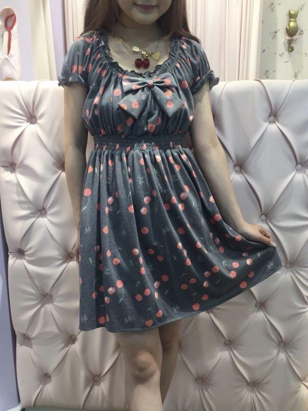画像1: juicy girl one-piece dress (cherry×gray) (1)