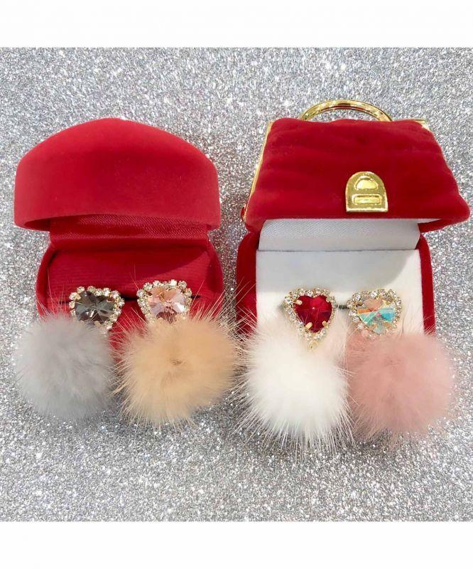 画像1: heart bijou & love fur pierce (ハートビジュー&ラブファー ピアス) (1)