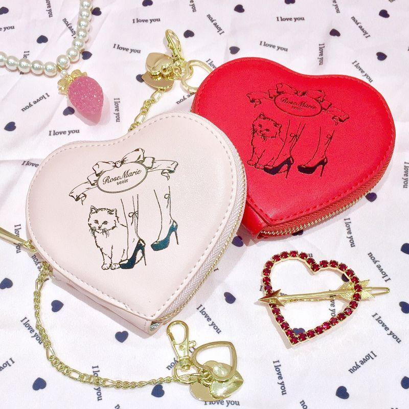 画像1: heart cat pouch(ハートキャットポーチ) (1)