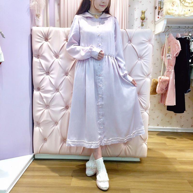 画像1: 【20%OFF】long sailor one-piece dress(ロングセーラーワンピース) (1)