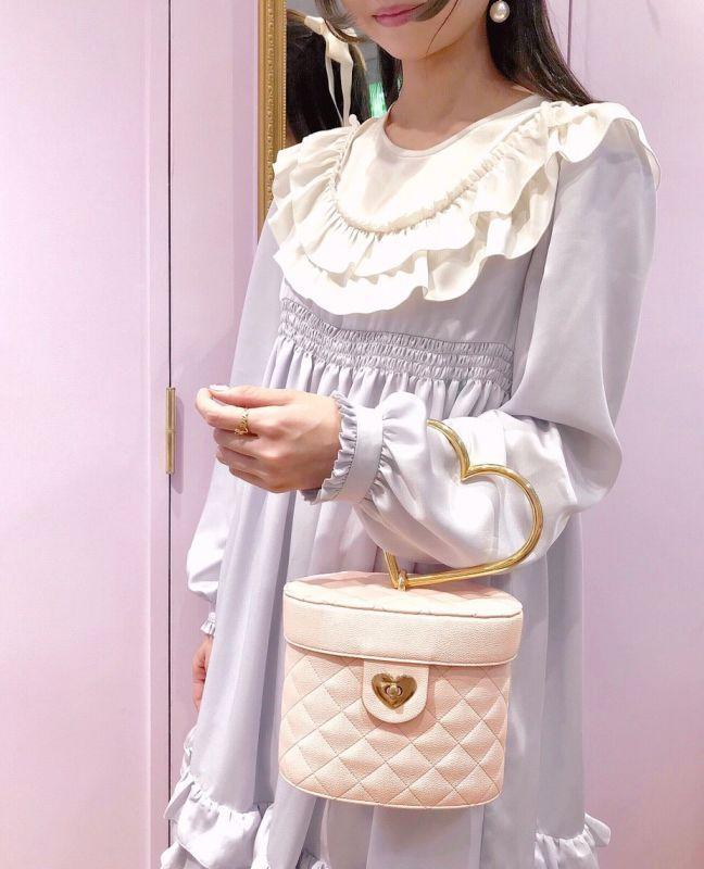 画像1: heartquilting vanity bag(ハートキルティング バニティバッグ) (1)