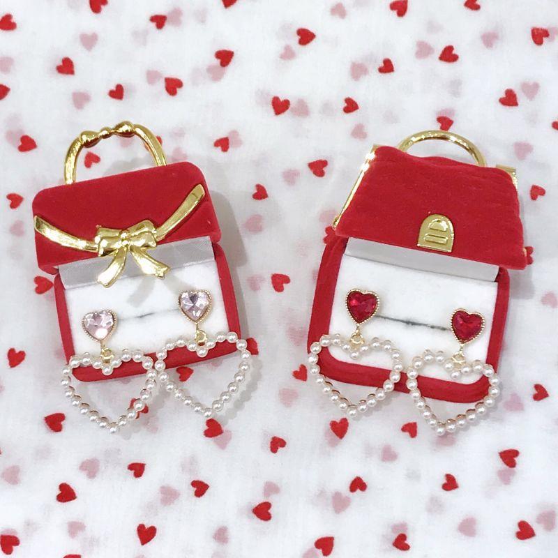 画像1: pearl&bijou heart pierce&earrings(パールアンドビジューハートピアス&イヤリング) (1)