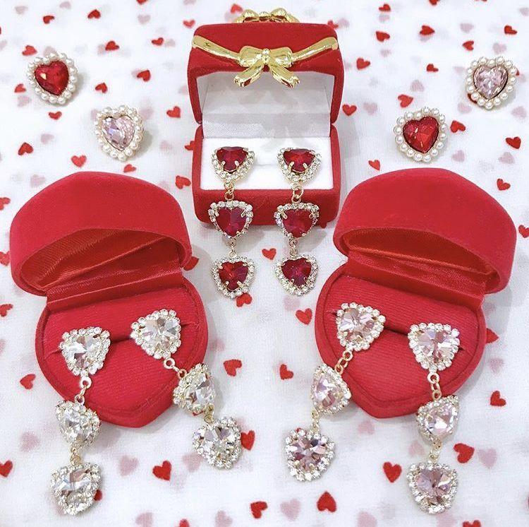 画像1: tripleheart pierce&earring(トリプルハートピアス&イヤリング) (1)