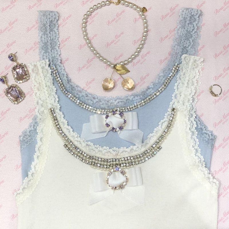 画像1: 【10%OFF】bijou ribbon camisole(ビジューリボンキャミソール) (1)