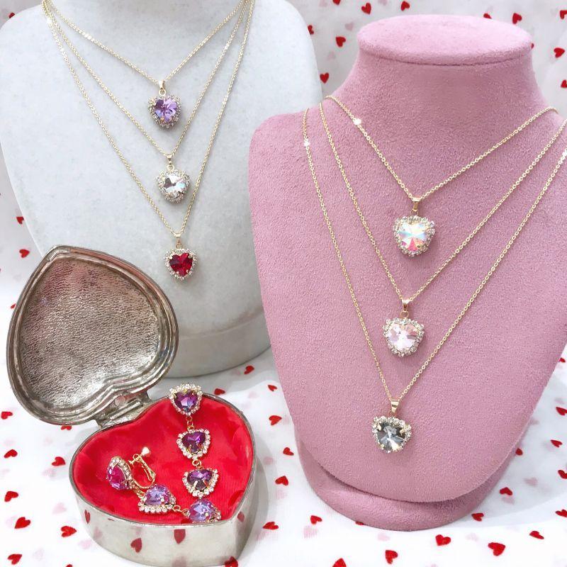 画像1: heart bijou necklace(ハートビジューネックレス) (1)