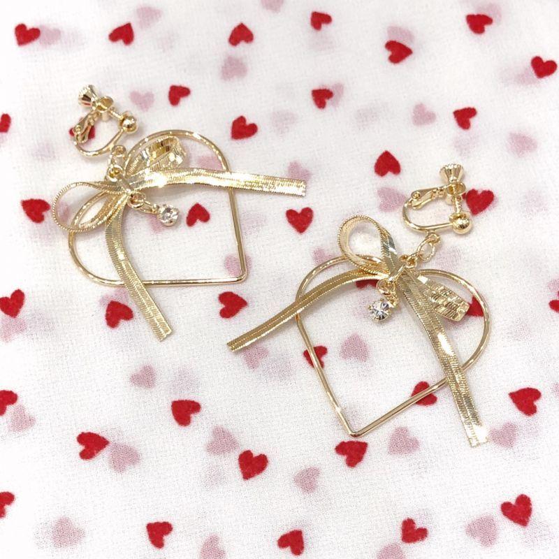 画像1: ribbon heart earring&pierce(リボンハートイヤリングアンドピアス) (1)