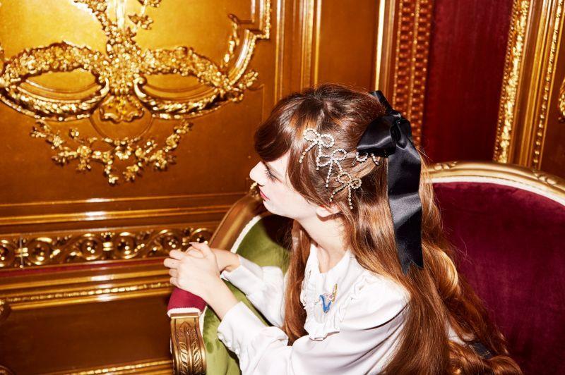 画像1: ribbon bijou hair-pin(リボンビジューヘアピン) (1)