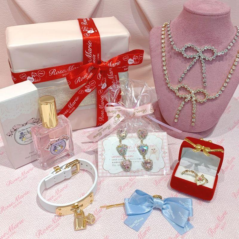 画像1: ribbon bijou necklace(リボンビジューネックレス) (1)