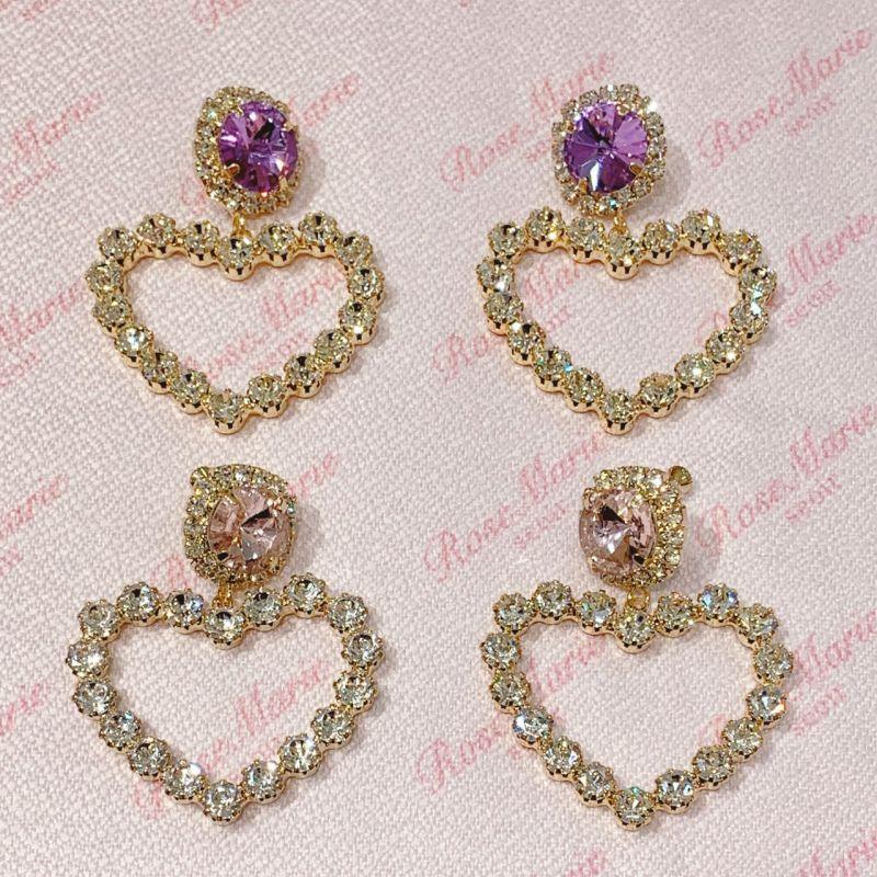 画像1: square bijou pierce&earring(スクエアビジューピアス&イヤリング) (1)