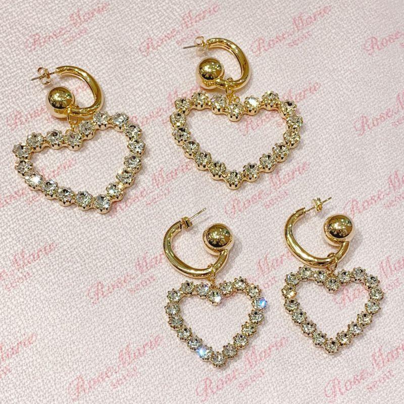画像1: heart bijou pierce(ハートビジューピアス) (1)