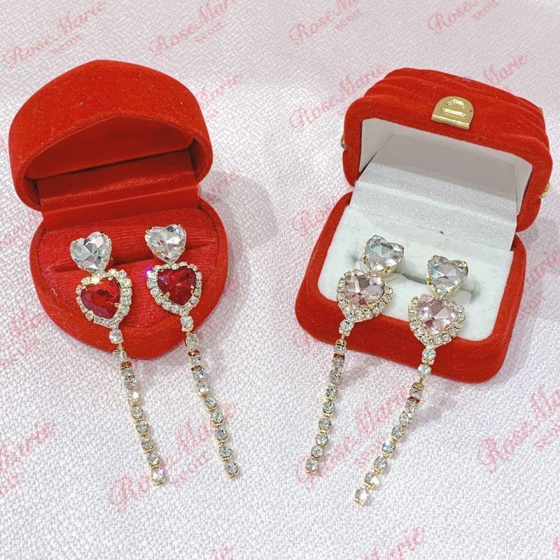 画像1: heart linestone pierce(ハートラインストーンピアス) (1)