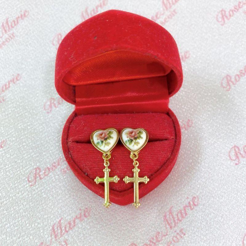 画像1: flower cross earring&pierce(フラワークロスイヤリング&ピアス) (1)