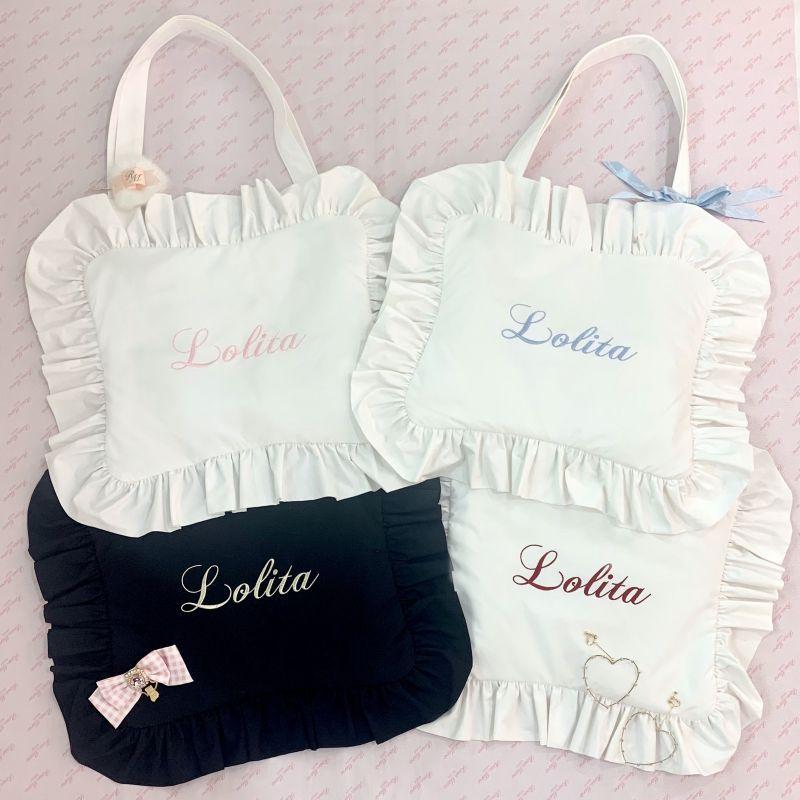 画像1: cotton frill pillow bag(cat)(コットンフリルピローバッグ) (1)