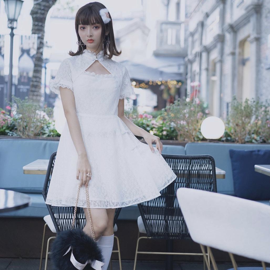 画像1: lace china one-piece dress(レースチャイナワンピース) (1)