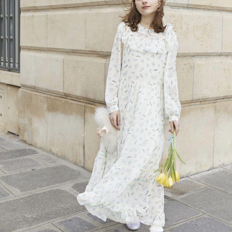 画像1: 【20%OFF】flower maxi one-piece dress(フラワーマキシワンピース) (1)