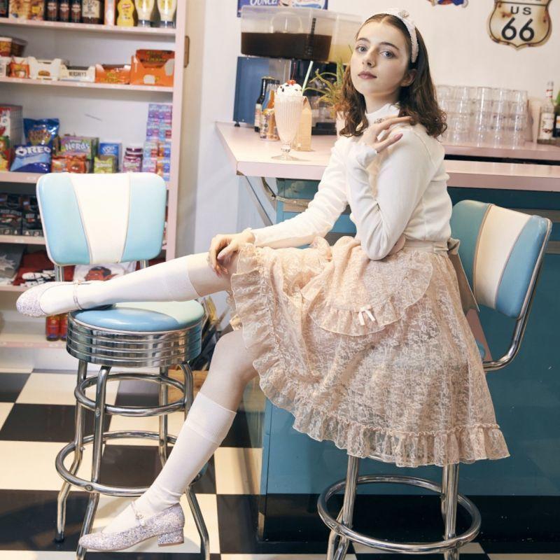画像1: 【20%OFF】lace apron skirt(レースエプロンスカート) (1)