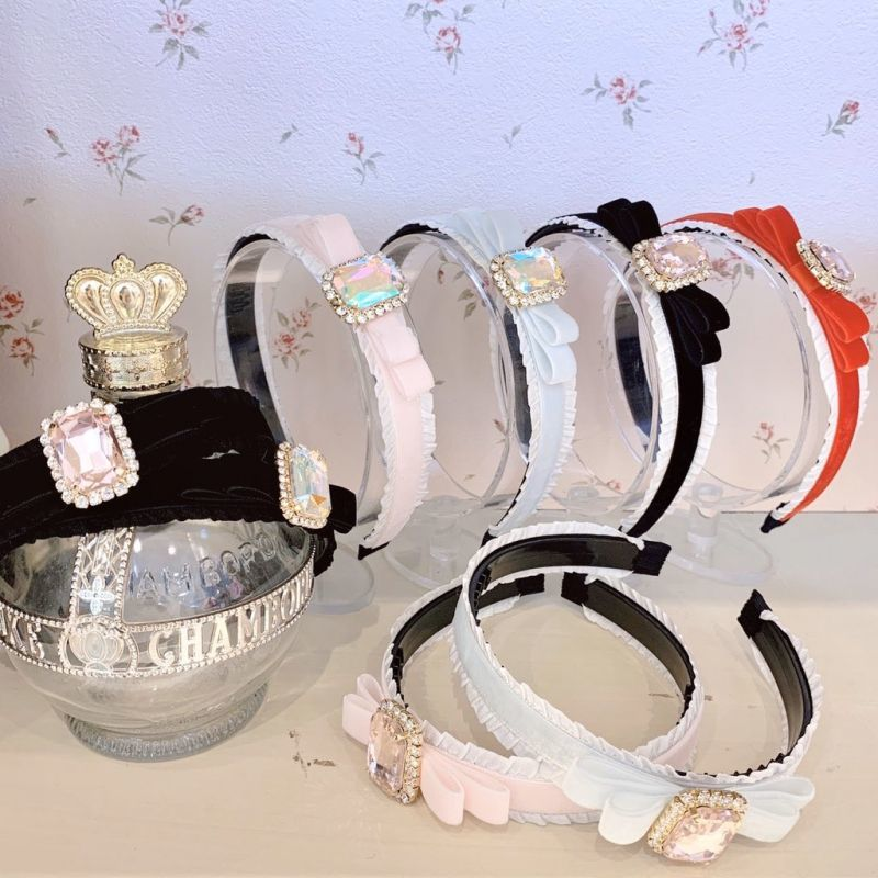 画像1: bijou ribbon headband(ビジューリボンカチューシャ) (1)