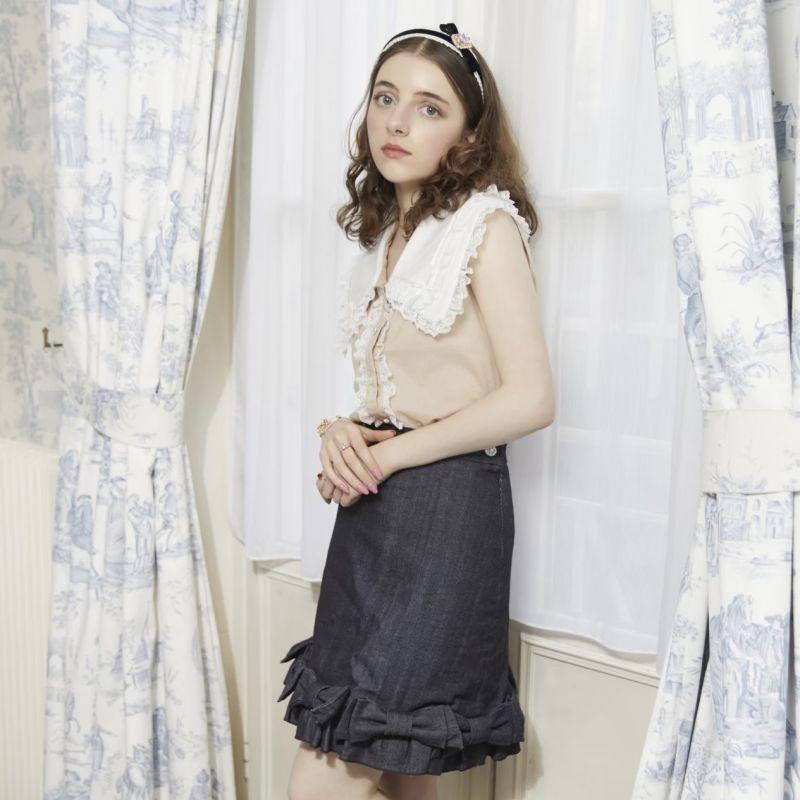 画像1: ribbon denim skirt(リボンデニムスカート) (1)