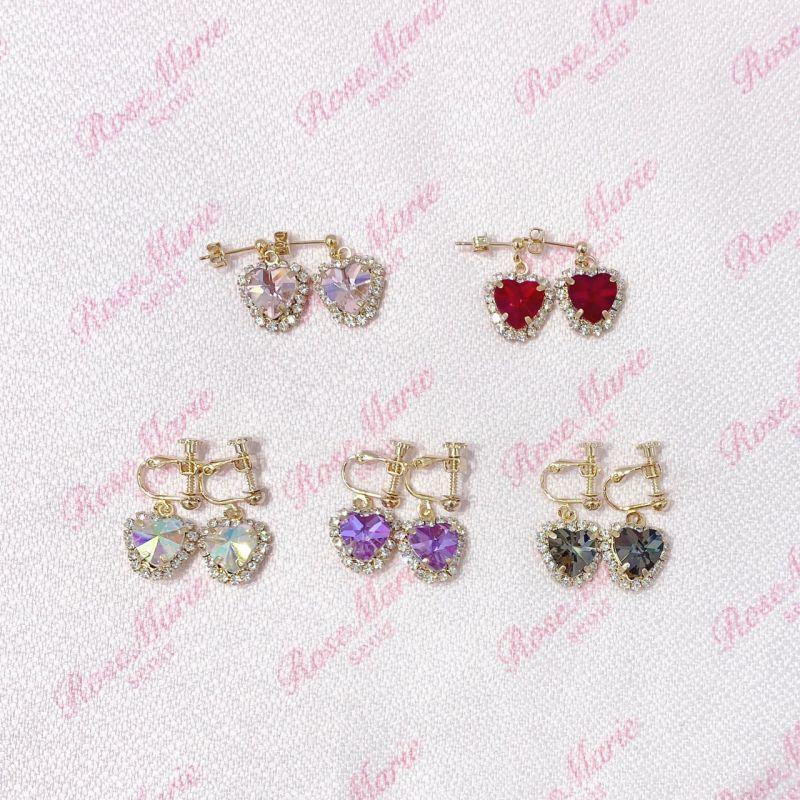 画像1: heart bijou pierce&earring(ハートビジューピアス&イヤリング) (1)