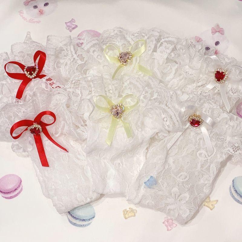 画像1: white lace bijousocks(ホワイトレースビジューソックス) (1)