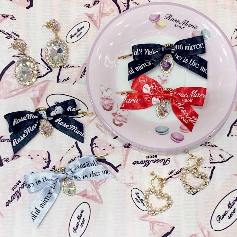 画像1: bijou ribbon hair-pin(ビジューリボンヘアピン) (1)