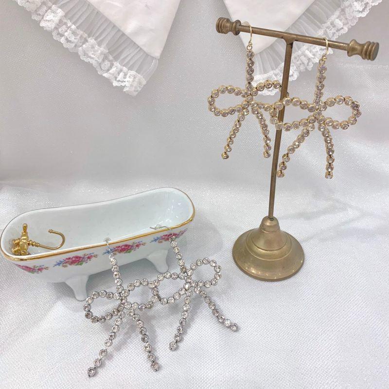 画像1: ribbon bijou earring&pierce(リボンビジューピアス) (1)