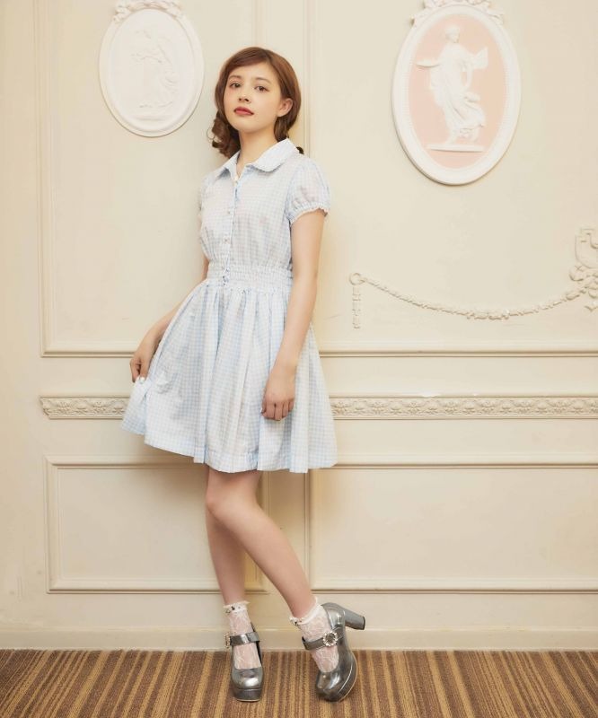 画像1: 【SAMPLE】shirring one-piece dress (1)