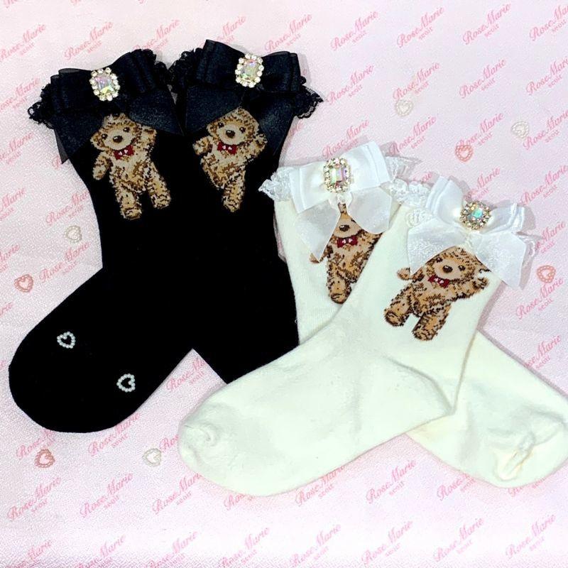 画像1: lace bear socks(レースベアソックス) (1)