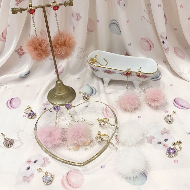 画像1: heart fur pierce&earring(ハートファーピアス&イヤリング) (1)