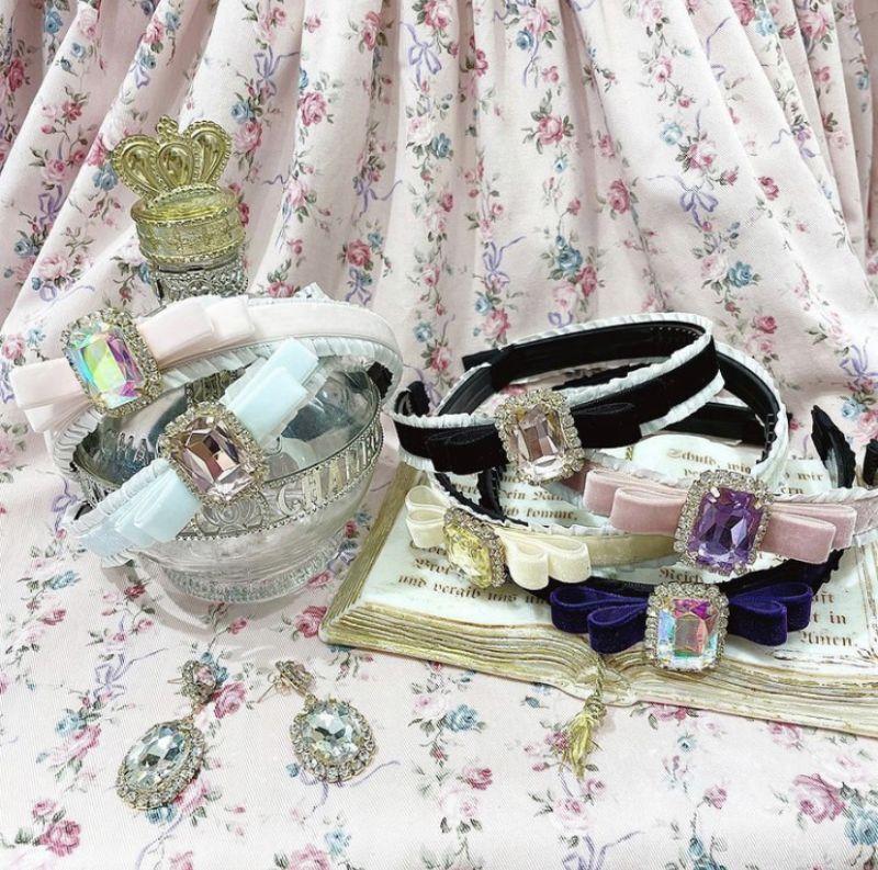 画像1: 【限定カラー】bijou ribbon headband(ビジューリボンカチューシャ) (1)