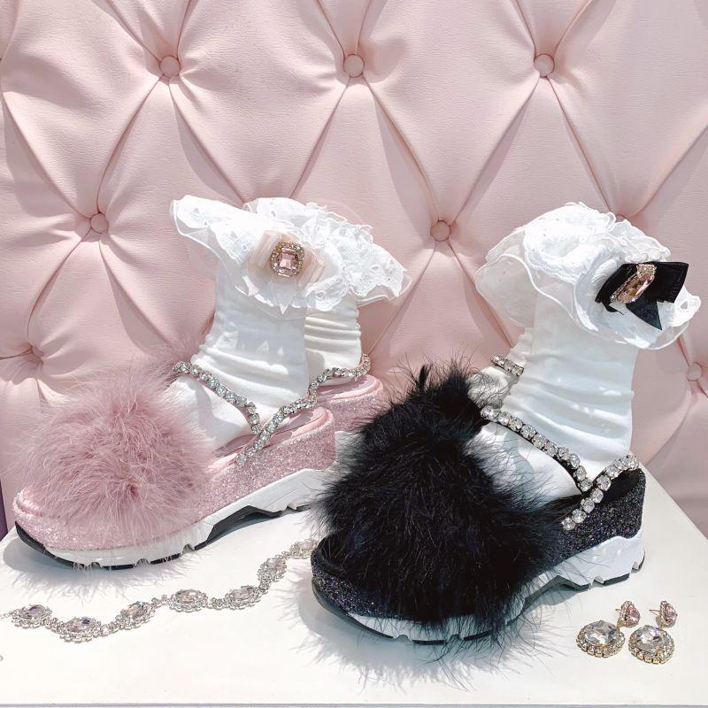 画像1: 【40%OFF】feather bijou sandal(フェザービジューサンダル) (1)