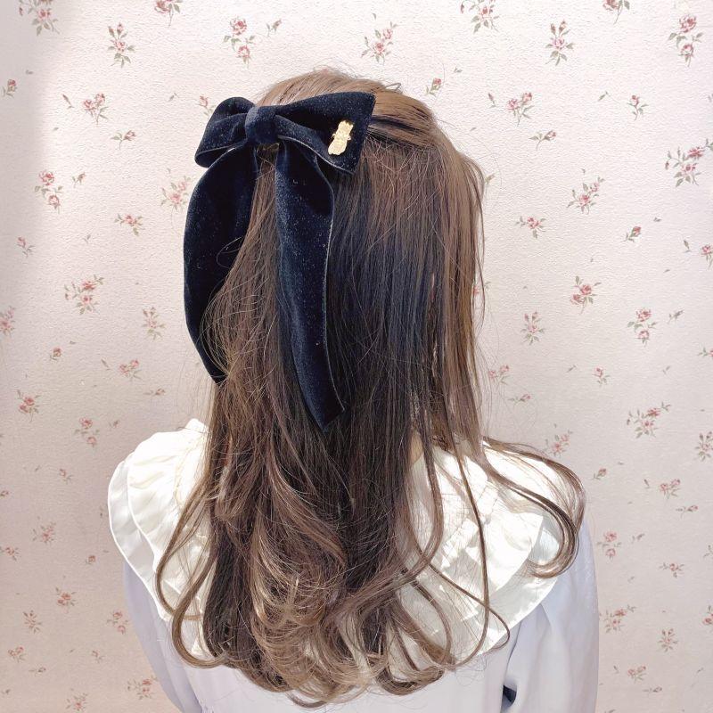 画像1: Kitten velour ribbon barrette(キトゥンベロアリボンバレッタ) (1)