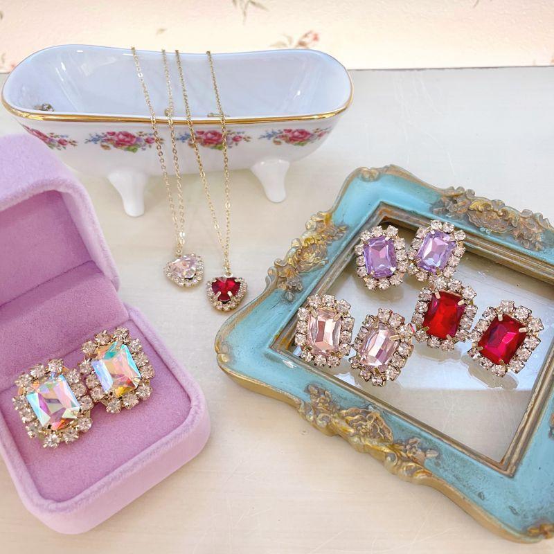 画像1: square bijou pierce&earring (スクエアビジューピアス&イヤリング) (1)
