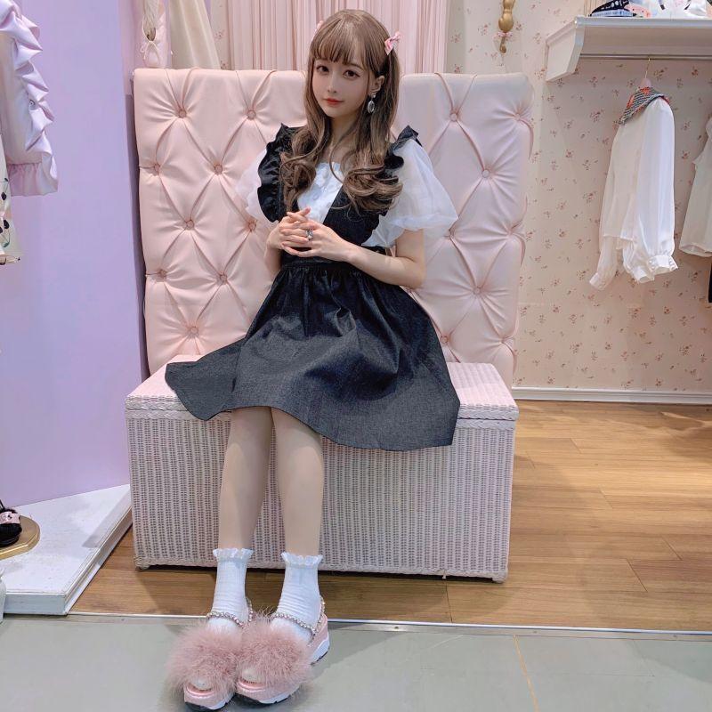画像1: 【40%OFF】back ribbon denim skirt(バックリボンデニムスカート) (1)