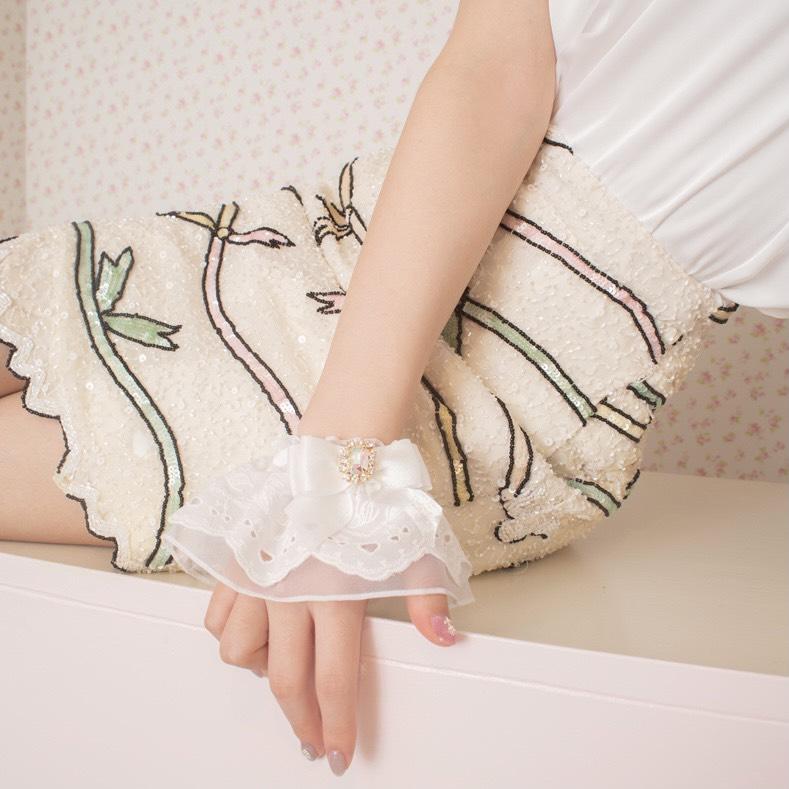 画像1: lace cuffs(レースカフス/ビジュー小) (1)